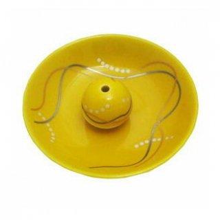 薫寿堂の香立付き香皿 華かんざし 黄釉