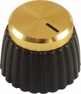 Knob - Marshall, Brown, Gold Cap, Set Screw, Single