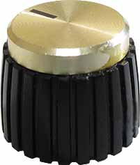 Knob - Marshall, Black, Gold Top, Push-On, D Shaft