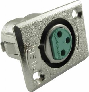 XLR Jack - Switchcraft, 3-Pin, Rectangular Panel Mount, Type D3F
