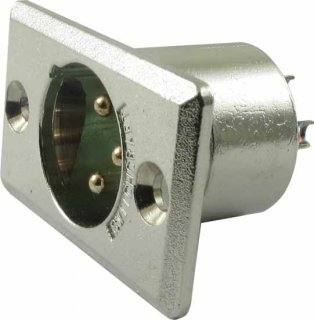 XLR Jack - Switchcraft, 3-Pin, Rectangular Panel Mount, Type D3M