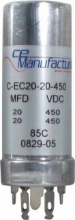 Capacitor - CE Mfg., 450V, 20/20uF<img class='new_mark_img2' src='https://img.shop-pro.jp/img/new/icons49.gif' style='border:none;display:inline;margin:0px;padding:0px;width:auto;' />
