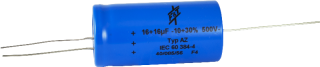 Capacitor - F&T, 500V, 16/16uF, Axial Lead Electrolytic