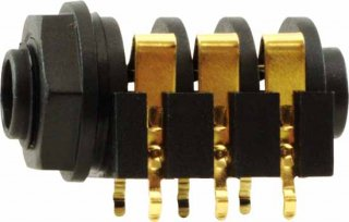 Jack - Rean , 1/4'', Stereo, 3-Pole Horizontal, Switched, Plastic Nut, PC