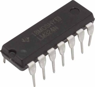Op-Amp - LM324, Quad, Low-Power, 14-Pin DIP