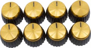 Knob - Marshall, Black, Gold Top, Push-On, D Shaft  Package of 8