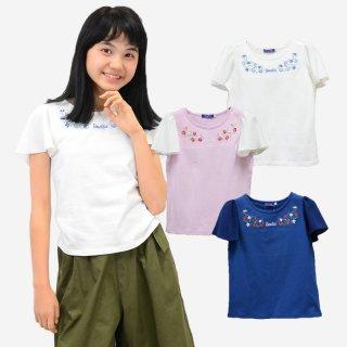 花刺繍 袖シフォン Tシャツ