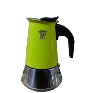 【在庫限り大特価】PEZZETTI ペゼッティ 直火式コーヒーメーカー ステンレスライムグリーン【2cup】 【ラッピング不可商品】