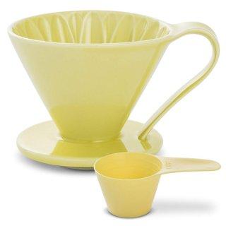 CAFEC 磁器フラワードリッパー CUPS4 Yellow【向日葵】 CFD-4YE 2〜4杯用