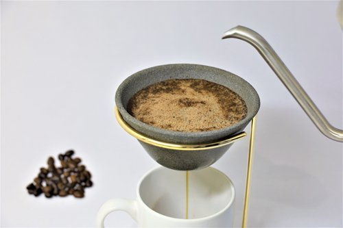 Celaful セラフル 波佐見焼 セラミックコーヒーフィルタードリッパー スタンドセット(ゴールド)CRF-SET