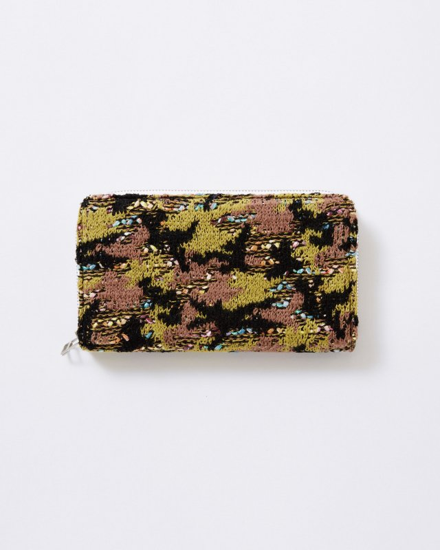 KNIT TWEED WALLET LARGE - CAMOUFLAGE TWEED
