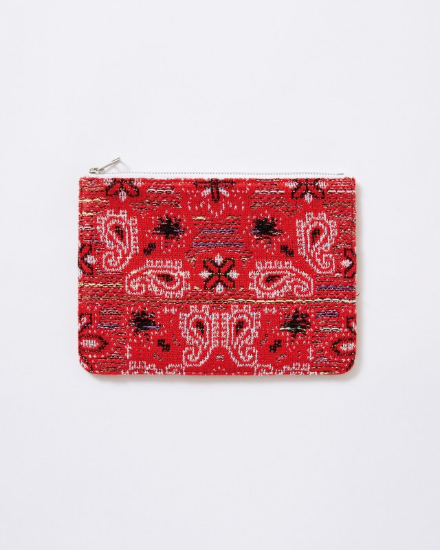 KNIT TWEED POUCH - BANDANA JACQUARD