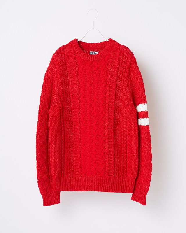 STRETCH CABLE KNIT PULLOVER