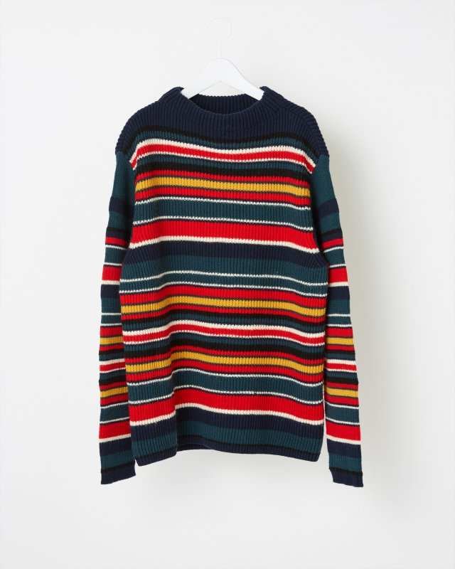 MULTI BORDER RIB KNIT SWEATER