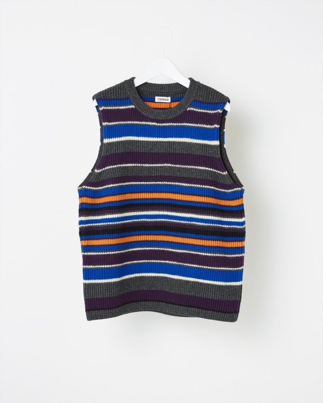 MULTI BORDER RIB KNIT VEST