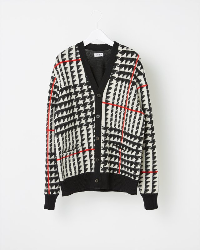 GLEN CHECK JACQUARD CARDIGAN