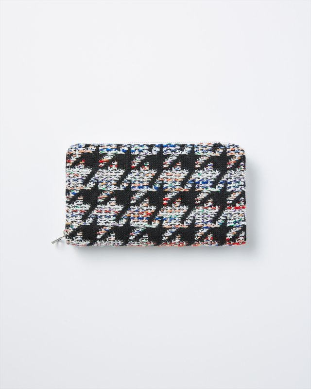 CL003 KNIT TWEED WALLET LARGE HOUNDSTOOTH TWEED