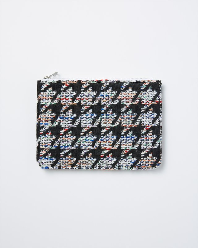 CL004 KNIT TWEED POUCH HOUNDSTOOTH TWEED