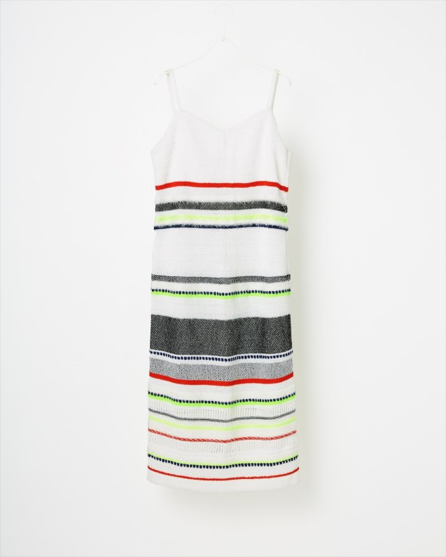 SPORTY BORDER KNIT ONE-PIECE