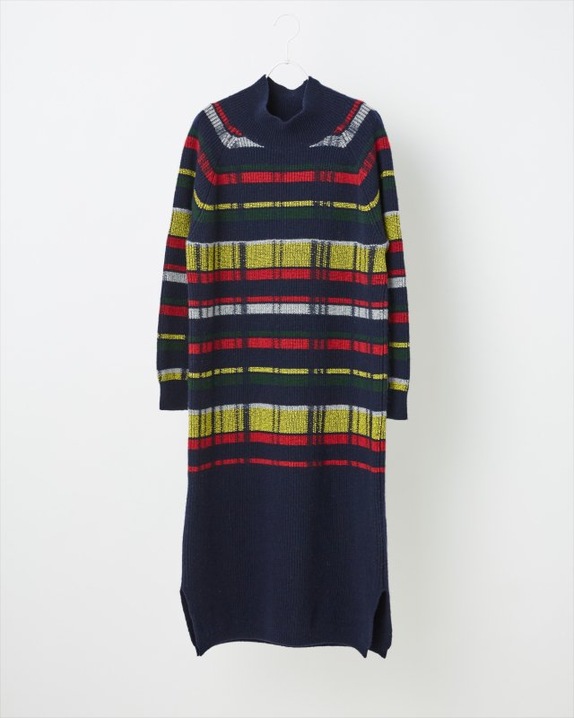 RETRO CHECK KNIT ONE-PIECE