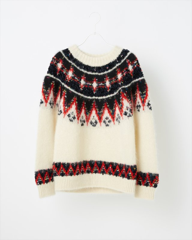 MOHAIR NORDIC KNIT SWEATER for WOMEN
