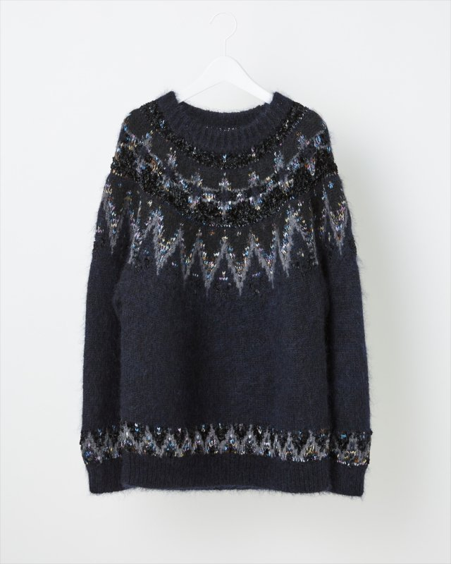 MOHAIR NORDIC KNIT SWEATER for MEN