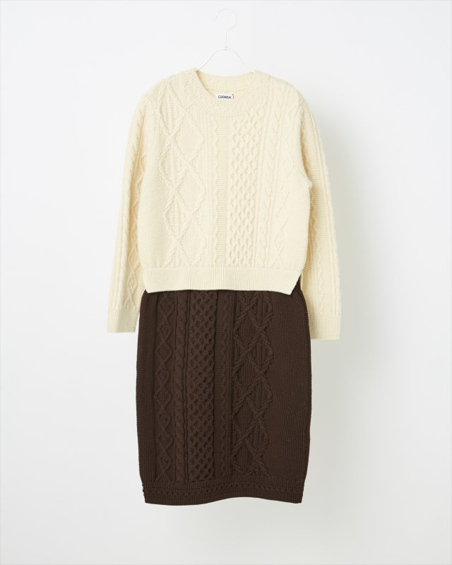 ARAN PATCHWORK KNIT ONE-PIECE