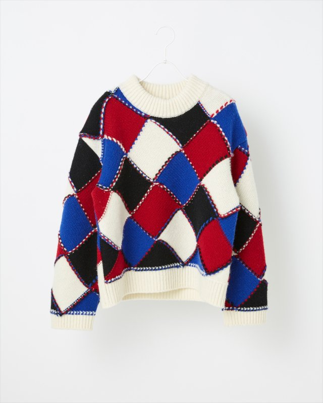 MODERN ARGYLE KNIT SWEATER