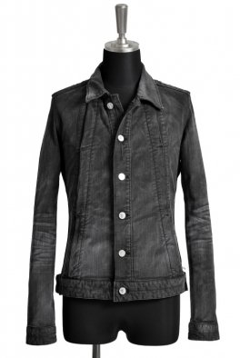 <img class='new_mark_img1' src='//img.shop-pro.jp/img/new/icons8.gif' style='border:none;display:inline;margin:0px;padding:0px;width:auto;' />Fagassent CHRISTOPHER JK Black Stretch Denim Jacket with Action Pleats