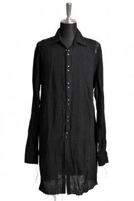 <img class='new_mark_img1' src='https://img.shop-pro.jp/img/new/icons8.gif' style='border:none;display:inline;margin:0px;padding:0px;width:auto;' />Fagassent SH1 Normandy Linen Black Long Shirt with Switch Leather