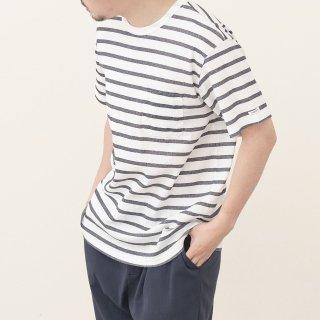 ビワコットンクルーネックポケットボーダーTシャツ