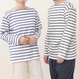 <再入荷>ビワコットンボートネックボーダーTシャツ