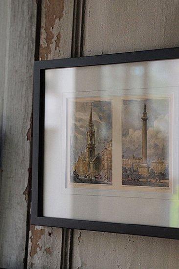 風景 建物 人々を描いた銅版印刷額縁 engraving print frame