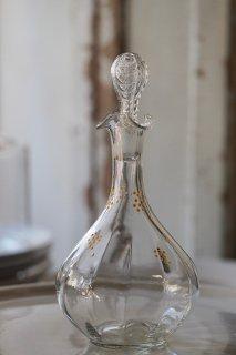 ひらひら、葡萄模様のデキャンタ-french glass decanter