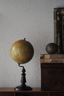 球体地球儀-antique french globe