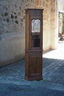 柱型モビリティ、ガラスキャビネット-french wood cabinet