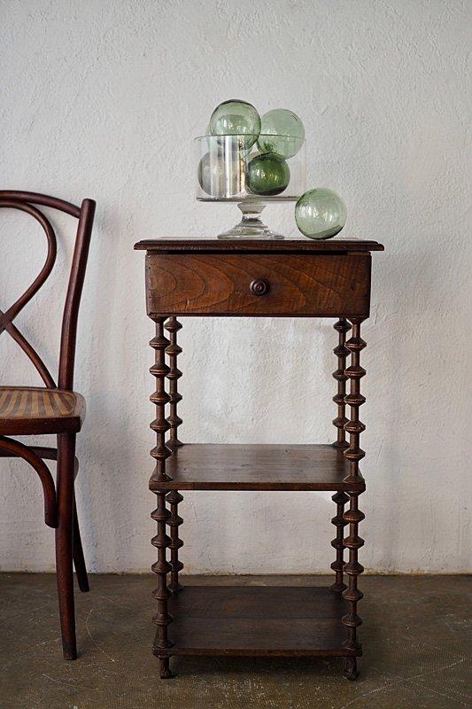 引き出し付きボビン脚花台 antique french oak plant stand