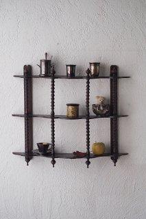波状寄せた枠 3段ウォールシェルフ-antique wall shelf