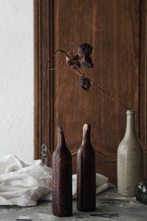 ボトルを象ったペア木製ボトル-pair antique wood bottle
