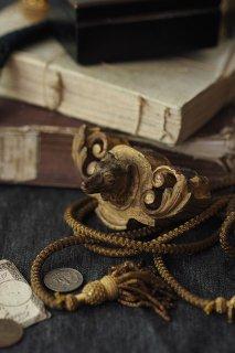 守りし追従の木製犬モールド-antique wood ornament