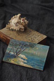 白い海岸と潮騒の油絵-antique oil painting plate
