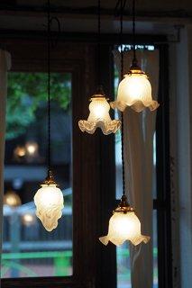 擦りガラスペンダントランプ-french frosted glass pendant lamp