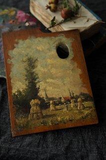 風景 稲藁立てと人-antique oil painting on palette