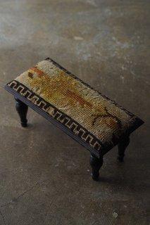 虎眼色幾何学文フットスツール-antique foot stool