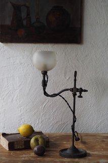 上方、アームを伸ばすスタンドランプ-antique glass shade stand lamp