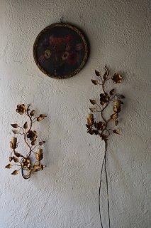 バラ科花咲ける-pair antique bracket lamp