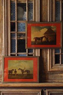 馬と人 青い空に雲-vintage printing picture frame