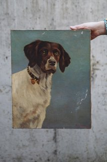 忠実・澄んだ眼の猟犬-antique oil painting on canvas