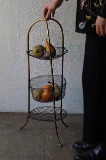 真鍮3段の果物シェルフ-antique brass fruit stand