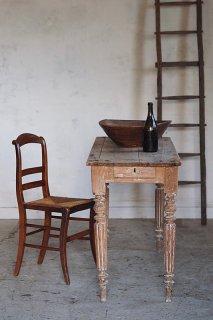 細身、乾いた質感フレンチテーブル-antique french pine table